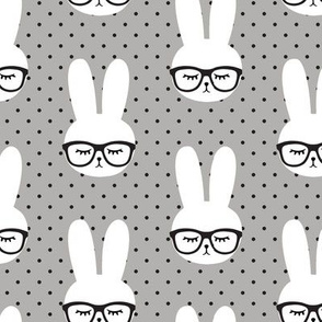 bunny with glasses - polka grey