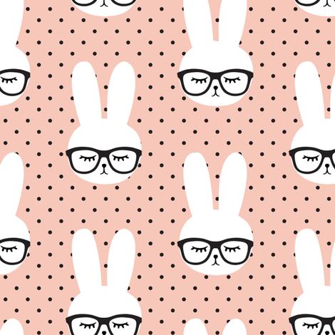 bunny with glasses - salmon peach polka fabric by littlearrowdesign on Spoonflower - custom fabric
