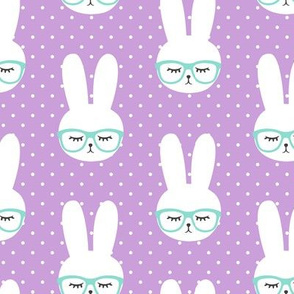 bunny with glasses - purple polka
