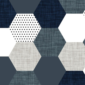 slate and navy hexagon wholecloth