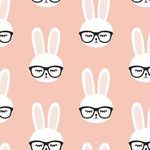 bunny with glasses - salmon peach