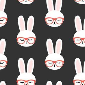 bunny with glasses (dark grey)