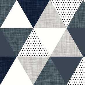slate and navy triangle wholecloth