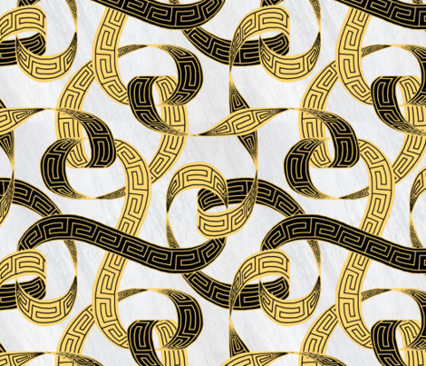 Greek key ribbon black and gold on marble fabric by victorialasher on Spoonflower - custom fabric