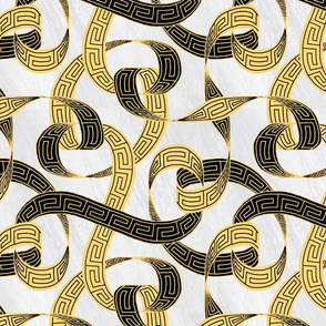 Greek key ribbon black and gold on marble