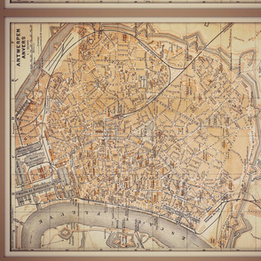 Antwerp map, Belgium, antique, FQ