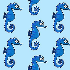 Cute Seahorses on Blue