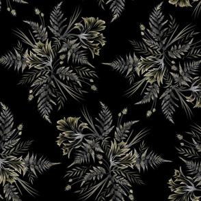 Parrot Tulips & Ferns - Black