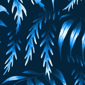 Brooklyn Forest - Blue Monochrome - Large Scale