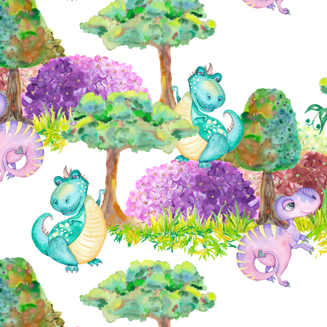 SMALL SCALE CUTE DINOS FAMILY ON WHITE fabric by floweryhat on Spoonflower - custom fabric