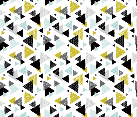 Geometric triangle aztec illustration hand drawn pattern mint and mustard flipped fabric by littlesmilemakers on Spoonflower - custom fabric