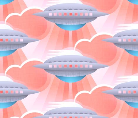Art Deco Spaceship Bubblegum fabric by spellstone on Spoonflower - custom fabric