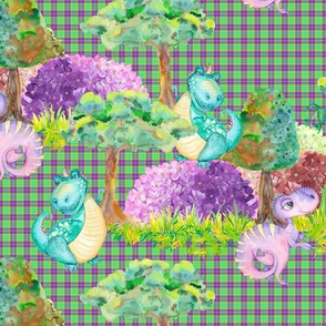 SMALL SCALE CUTE DINOS FAMILY ON GREEN ULTRA VIOLET PLAID TARTAN GINGHAM