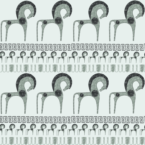 hippos // Greek horse  fabric by ruth_robson on Spoonflower - custom fabric