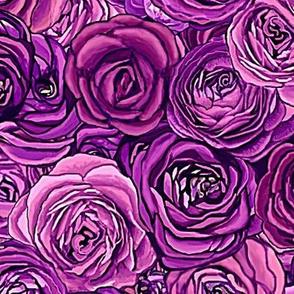 Purple Floral Ranunculus Roses