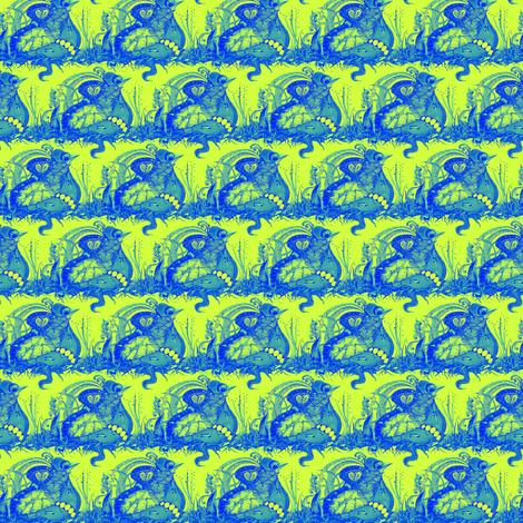 Mini Blue Filigree Quail on Lime, CW AQmini fabric by maryyx on Spoonflower - custom fabric