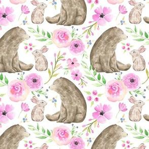 Bear & Bunny Friends - Pink Floral Woodland Baby Girls Nursery Bedding GingerLous B