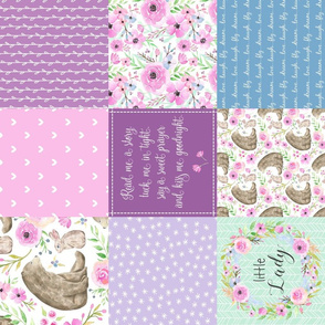 Little Lady Patchwork Quilt (ROTATED) - Woodland Bear + Bunny Floral Pink, Lilac + Blue Wholecloth Best Friends 2 Coordinate for Girls GingerLous