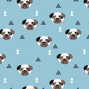 Geometric pug love puppy dog illustration cute kids retro animals in blue for boys