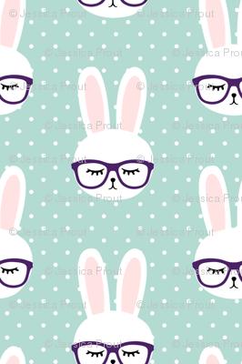 bunny with glasses - dark mint polka