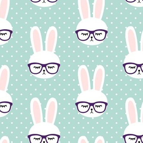 bunny with glasses - dark mint polka