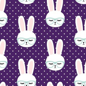 bunny with glasses - dark purple polka
