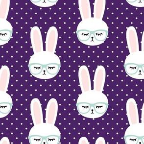 bunny with glasses - dark purple polka