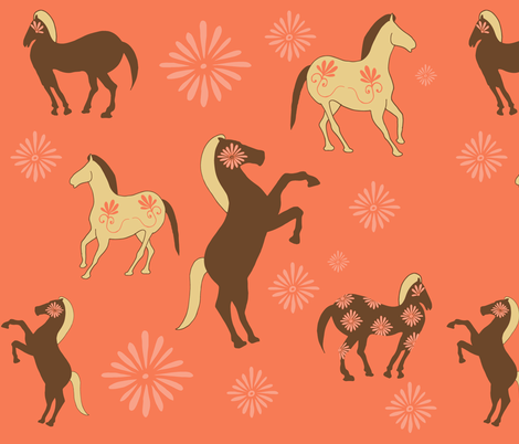 Floral Horses fabric by sharongayhart on Spoonflower - custom fabric
