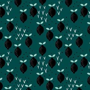 Teal lemon poppy fruit and flower winter garden modern abstract botanical designs mint SMALL