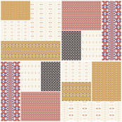 Gold and orange Strikke Cheater Quilt