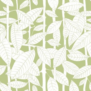 White leaves on green on green background
