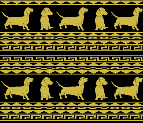 Greek Dachshunds fabric by hobbitrosie on Spoonflower - custom fabric