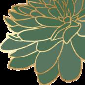 Deep Green Gold Flower