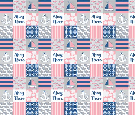 nautical-wholecloth-navy-pink fabric by lilcubby on Spoonflower - custom fabric