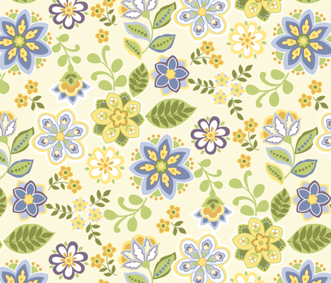 Floral Toss fabric by barbarapixton on Spoonflower - custom fabric