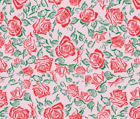 rose bed pink fabric by b0rwear on Spoonflower - custom fabric