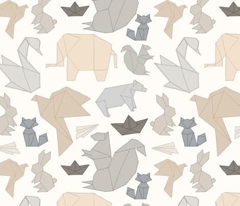 Neutral Toned Origami fabric by designbysarah on Spoonflower - custom fabric
