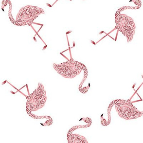Zig Zag Flamingos on white