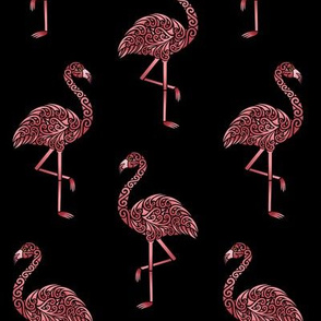 Funky Flamingos on Black