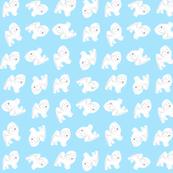 Fluffy Samoyed Puppies - Sky Blue