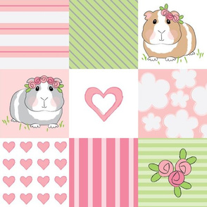 pink guinea-pigs-wholecloth 4 inch blocks