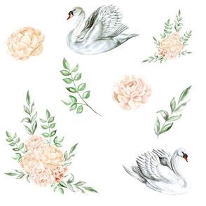 Swans in Garden Flowers
