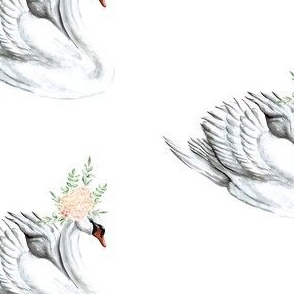 Swan with Peach Floral Crown