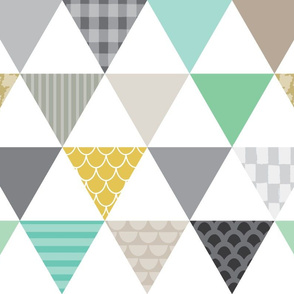 patterned triangle-wholecloth-grey-mint-green-gold