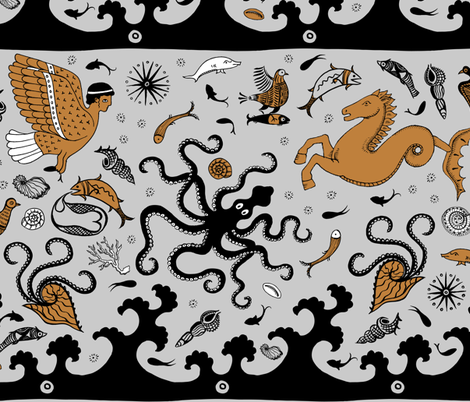 Minoan Sea and Sky creatures fabric by cecca on Spoonflower - custom fabric