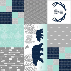 Bears Deer Antlers Wholecloth (rotated) – Wild and Free Cheater Quilt – Navy Gray Mint Design