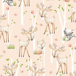Sweet Woodland Animals (blush) Deer Fox Raccoon Birch Trees Flowers Baby Girl Nursery Blanket Sheets Bedding B