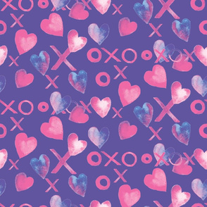 Xs Os & Hearts-Purple
