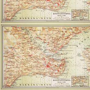 Istanbul map, antique, FQ