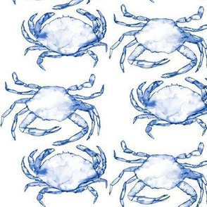Shimmying Watercolor Crabs in Brighter Navy Blue